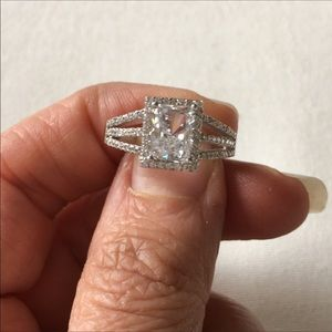 Emerald cut Cz engagement Ring Size 8